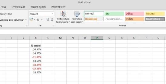 Exceltips - Villkorsstyrd formatering