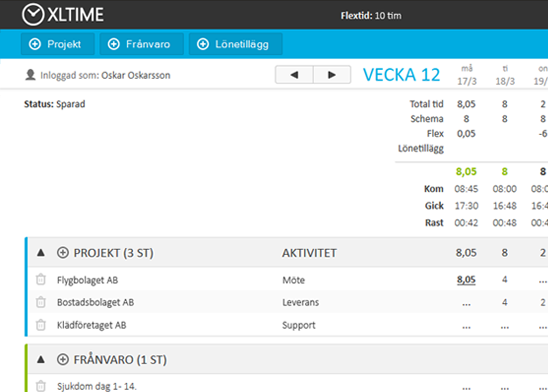 XLTime webb & Excel